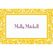 Yellow Sunshine Ornamental Scroll Custom Thank You Note