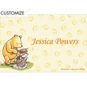 Pooh and Piglet Tub Scene Custom Baby Shower Thank You Note