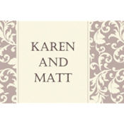Damask Stripe Taupe Custom Thank You Note