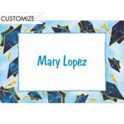 Blue Flying Mortarboards Custom Thank You Notes