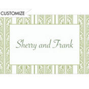 Sage Green Deco Stripe Custom Thank You Note