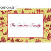 Holiday Toile Custom Thank You Note