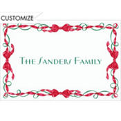 Red and Green Ribbon Border Custom Thank You Note