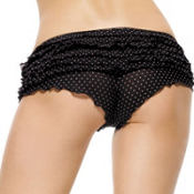 Adult Black and Pink Polka Dot Ruffle Panty