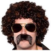 70s Disco Dirt Bag Wig & Moustache