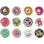 Hippie Chick Buttons 12ct