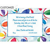 Beachball Border Custom Invitation