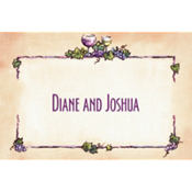 Grapes and Wine Border Custom Thank You Note