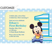 Mickey 1st Birthday Custom Invitation
