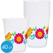 Fiesta Printed Plastic Party Cups 14oz 40ct