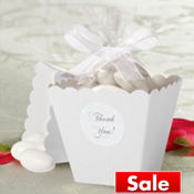 White Popcorn Box Wedding Favor Kit 50ct