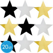 Black, Silver & Gold Star Cutouts Assortment 20ct