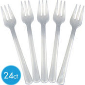 Pearl Premium Plastic Cocktail Forks 24ct