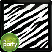 Zebra Print Square Dinner Plates 18ct