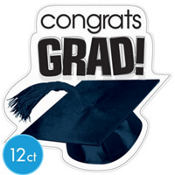 White Congrats Grad Graduation Cutouts 10 1/2in 12ct
