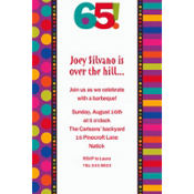 Birthday Dots & Stripes 65 Custom Invitation