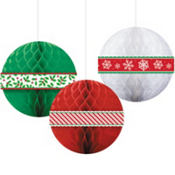 Christmas Honeycomb Balls 3ct