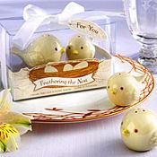 Feathering the Nest Ceramic Birds Salt & Pepper Shakers Baby Shower Favor