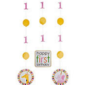 Sweet At One Girls 1st Birthday Hanging Cutouts 3ct