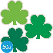 Glitter St. Patricks Day Shamrock Cutouts 50ct