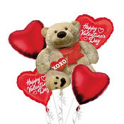 Cuddly Bear Valentines Day Balloon Bouquet 5pc