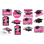 Zebra Graduation Cutouts 12ct