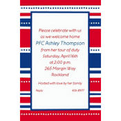 American Summer Stripes Welcome Home Custom Invitation