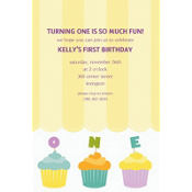 Lined Up Cupcakes Custom Invitation