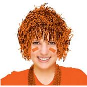 Orange Tinsel Wig