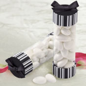 Black & White Stripes Cylinder Wedding Favor Kit 20ct