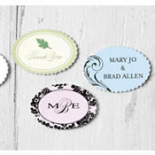 Printable Scallop Oval Favor Labels 45ct
