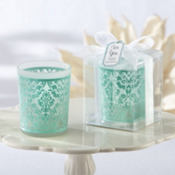 Robin's Egg Blue Damask Tea Light Holder Wedding Favor