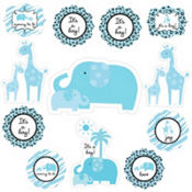 Blue Safari Baby Shower Cutouts 12ct