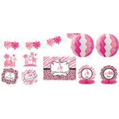 Pink Safari Baby Shower Room Decorating Kit 10pc