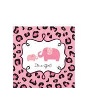 Pink Safari Baby Shower Beverage Napkins 36ct