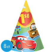 Cars 1st Birthday Party Hats 8ct