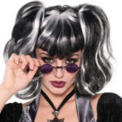Black & White Pigtail Punk Wig