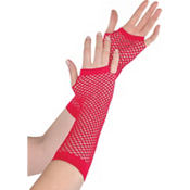 Long Red Fishnet Gloves Deluxe