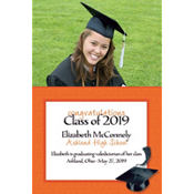 Orange Congrats Grad Custom Photo Announcement