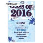 Class Year with Stars Blue Custom Invitation