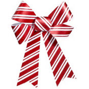 Plastic Red and White Glitter Christmas Bow 12in