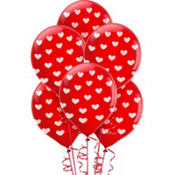 Heart Print Latex Balloons 12in