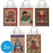 Medium Seasons Greetings Kraft Gift Bags 8in 5ct