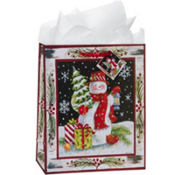 Large Nighttime Snowman Gift Bags 12 1/4in 8ct