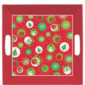 Square Printed Christmas Tray 10in