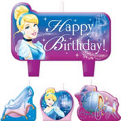 Cinderella Birthday Candles 4ct