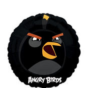 Foil Angry Birds Black Bird Balloon 18in