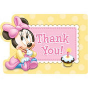 Minnie Mouse 1st Birthday Thank You Postcards 8ct