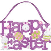 Glitter Happy Easter Sign 10in