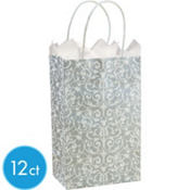 Silver Brocade Mini Gift Bag 12ct